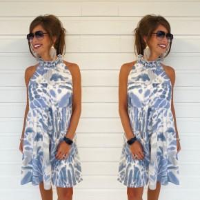 Timeless Treasure Tie Dye Dress- Blue