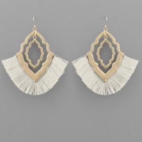 Ivory Tassel & Quatrefoil Earrings
