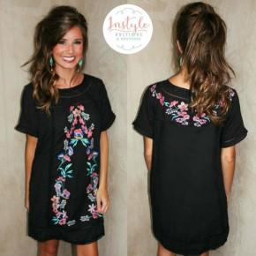Black Artful Design Embroidered Dress