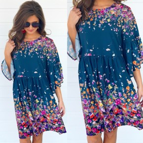 Sea Green Floral Baby Doll Dress