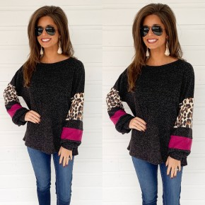 Magenta & Leopard Color Block Top