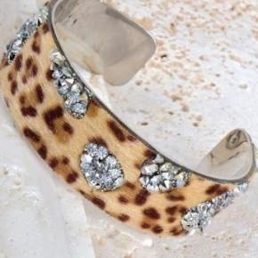 Leopard Cuff Bracelet- Silver