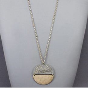 Gold Flake Circle Necklace