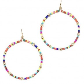 Colorful Bead & Ball Circle Earrings