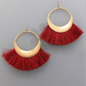 Burgundy Fan Tassel Earrings