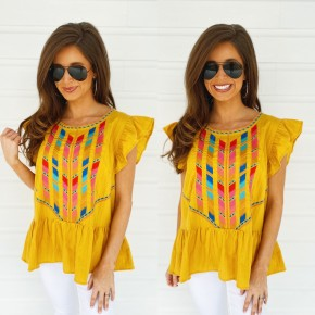 Marigold Embroidered Baby Doll Top