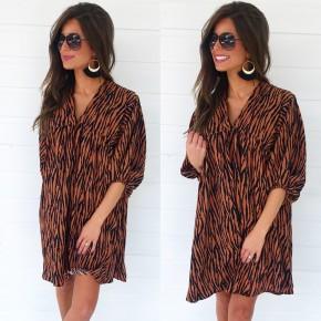 Cognac Zebra Print Dress