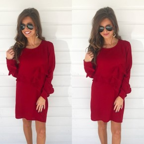 Red Tiered Ruffle Dress
