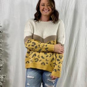 Color Block Leopard Sweater, Mustard *Final Sale*