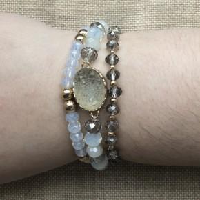 Druzy Oval & Glass Bracelet Set *Final Sale*