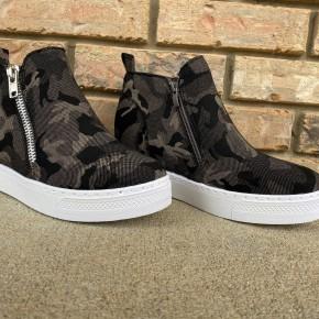 Gray Camo Wedge Sneakers *Final Sale*