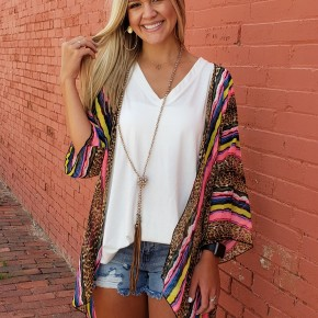 Neon Pink Stripes/Leopard Kimono