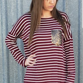 Burgundy/White Striped Tunic