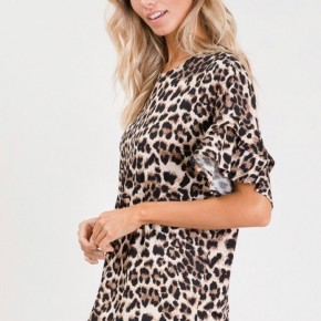 Leopard Ruffle  Sleeved Top