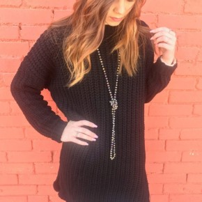 Chunky Knit Sweater (Black) with Side Slit