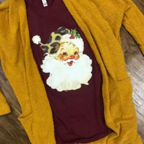 Cheetah Vintage Santa- Crimson Short Sleeve