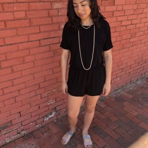 Black Short Sleeved Romper/ shorts