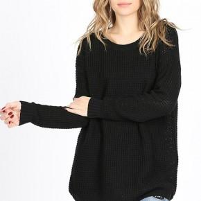 Black Long Sleeve Waffle Knit Sweater