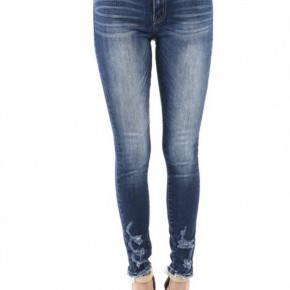 Kan Can Dark Wash Lightly Distressed Jeans