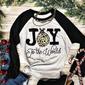 Joy To The World Raglan/Vintage Black/Heather White