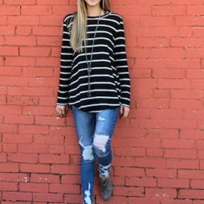 Black and White Striped Waffle Top