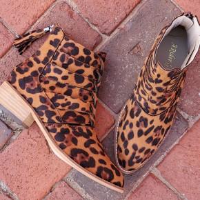 Suede Leopard Camel Booties