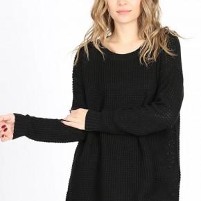Black Long Sleeve Waffle Sweater