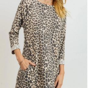 Reglan  Long Sleeve Leopard Dress