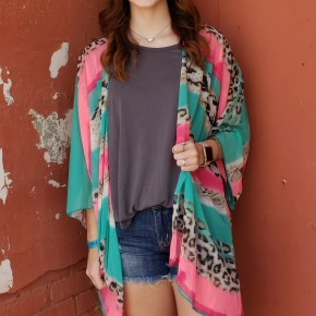 Leopard/Neon Stripe Kimono