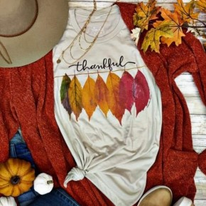 The Changing Seasons Thankful Leaves Tee