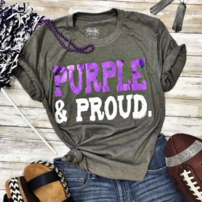 Purple and Proud Game Day Tee-Gray