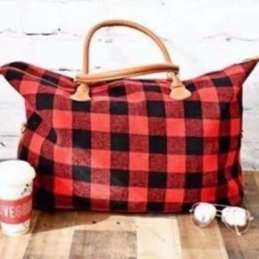 Buffalo Plaid Weekender Bag Red/ White
