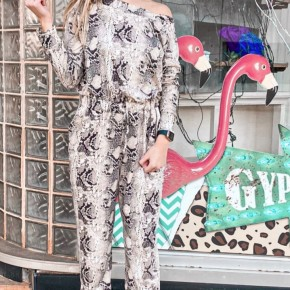 Snake Print Off the Shoulder Long Sleeve Romper