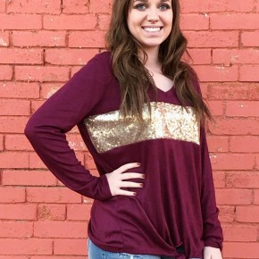 Burgundy  V-Neck with Sequines Panel