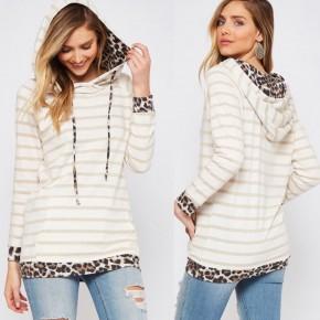 Sierra Oatmeal Stripes & Leopard Hoodie