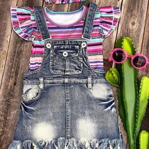 Girl's Adjustable Strap Denim Overall Dress