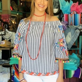 Off The Shoulder Striped Embroidered Top