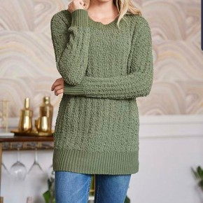 V-Neck Cable Knit Sweater