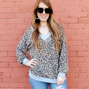 Brushed Stripe Hacci Top with Leopard Neck Band and Puff