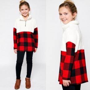 Girls Sherpa/Buffalo Plaid Pullover