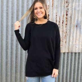 Black Pancho Style Top With Pockets