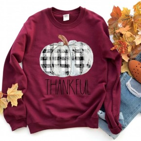 Vintage Thankful Pumpkin Sweatshirt/Maroon/Crew Neck