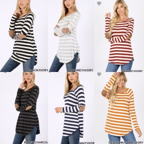 Striped Boat Neck Top With Elbow Patch