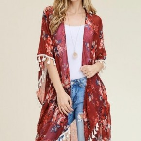Wine Floral Kimono