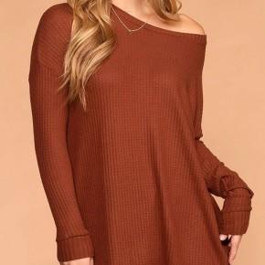 Curvy Rust Light Weight Waffle Knit Long Sleeve Top