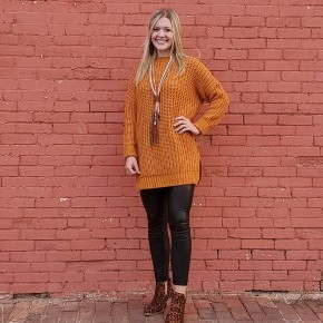 Chunky Knit Desert Mustard Sweater With Side Slit