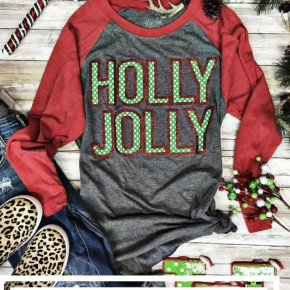 Pre-Order Glitter Holly Jolly Raglan {ORDER PLACED}