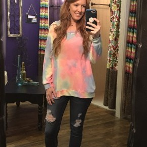 Good Vibes Only Tie Dye Long Sleeved Light Weight Sweater.
