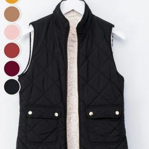 Reversible Diamond Pattern Puffer Vest