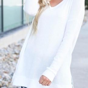 Light Weight Waffle Knit Long Sleeve Top